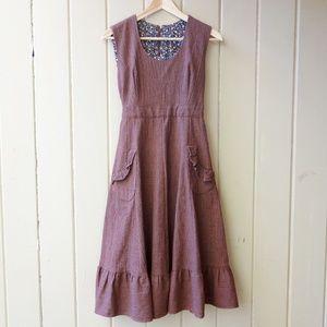 Vintage '60s '70s Tie Back Dress S M